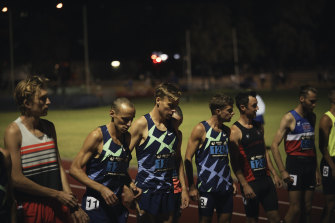 McSweyn (third from left) with a number of international-calibre 5000-metre runners at the start of the Box Hill Burn; he eventually leaves them all in his wake.