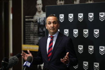 NRL CEO Andrew Abdo says the conference idea is off the table for now.