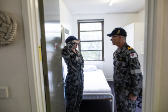 Paige Vernon-Smith's room on the base at HMAS Creswell is inspected by LUT Allen Trent.
