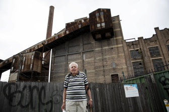 Balmain Resident Raymond O'Keefe outside the White Bay Power Station on the Balmain-Rozelle peninsula.