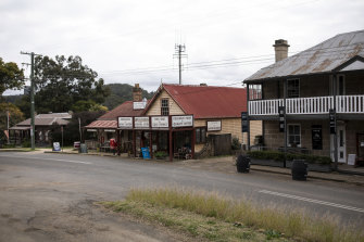 Wollombi General Store (centre) dates from about 1851 and is one of many historic buildings in the area.