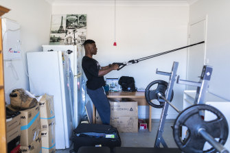 After Covid-19 shut his gym Cornelius shifted his work out into the family garage.