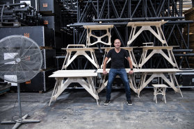 Jeremy Fleming of Stagekings with some of the new work from home desks that his staging business is now making.