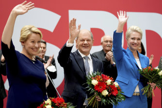 Front from left, Franziska Giffey, top candidate of the SPD for mayor of Berlin, Olaf Scholz, top candidate for chancellor, and Manuela Schwesig, member of the SPD and governor of the German state of Mecklenburg-Western Pomerania, on Monday.