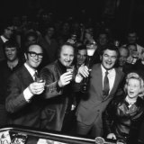 An unofficial Labor victory celebration in 1974 at the R.J. Hawke Hotel in Brunswick.