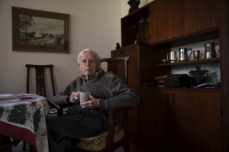 Stuart Doyle in his residence at the veterans home.