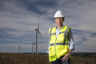ACT Minister for Climate Change and Sustainability Shane Rattenbury at Crookwell 2 wind farm.