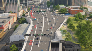 The final configuration of the roadway at the southern end of the Sydney Harbour Bridge.