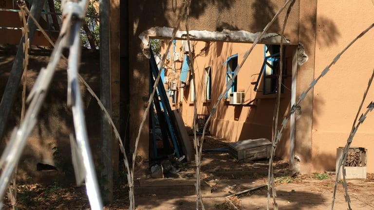 Damage to the General Staff of the Armed Forces building following Friday's gun and explosives attack in central Ouagadougou, Burkina Faso.