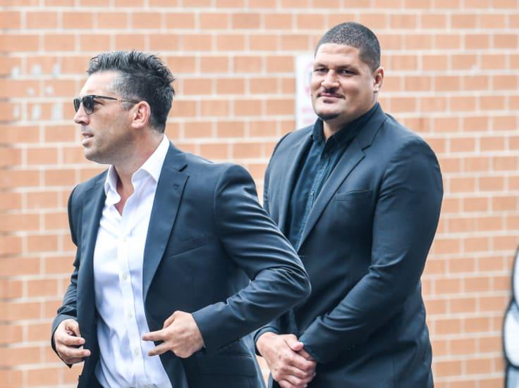 Former Bulldogs Braith Anasta and Willie Mason arrive at Belmore Sports Ground.