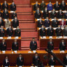 China's president Xi Jining centre stage in Beijing's Great Hall of the People on Friday.