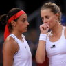 France's Caroline Garcia (left) and Kristina Mladenovic during their doubles clash against Romania.