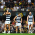 Dejected Cats stand on the Gabba after the final siren of the 2020 grand final.