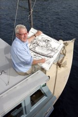Peter Kingston at work on his boat in Lavender Bay in 2010.