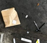 Syringes and other drug paraphernalia left by drug users at the Richmond public housing estate near the North Richmond safe injecting room.