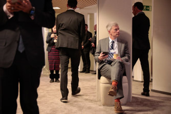 An attendee rests between sessions.