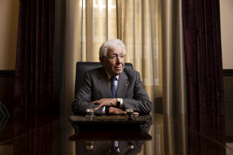 Frank Lowy in his office at the newly refurbished Lowy Institute building.
