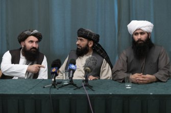 Suhail Shaheen, centre, has been nominated by the Taliban as their Un ambassador.