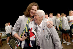 Cate Campbell embraces swimming legend Dawn Fraser after being announced as a flag bearer for the Tokyo Games.