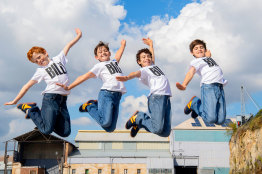 The Melbourne cast of Billy Elliot the Musical, (from left) Jamie Rogers, River Mardesic, Omar Abiad, Wade Neilsen.