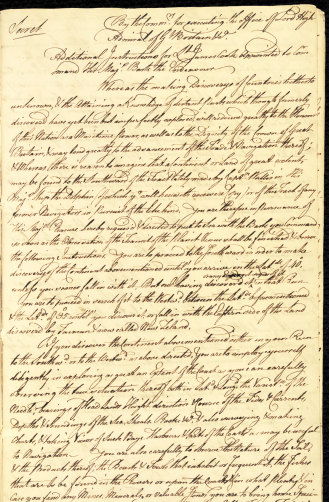 The secret orders Captain James Cook officially could not open until after he left Tahiti.