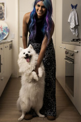 Peace of mind: Chantelle Lawrence and her dog, Kyuubi.