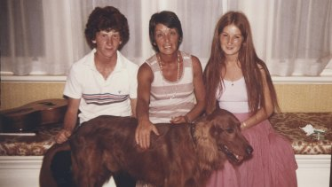 Paul Biegler in 1979 with his mother Beryl, sister Sian and family dog Morgan.