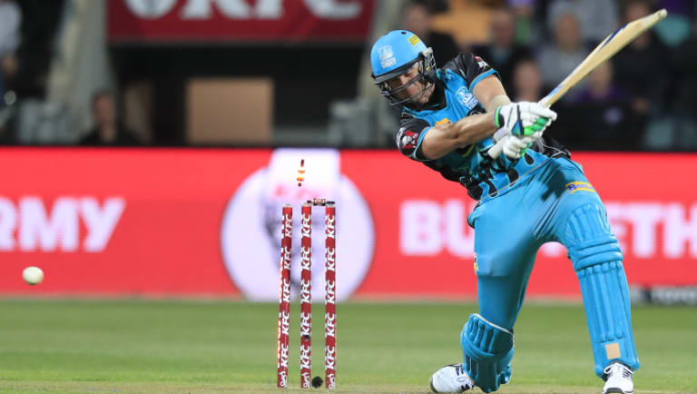 Mark Steketee of the Heat is bowled on the last ball of the innings during the BBL match between the Hobart Hurricanes and the Brisbane Heat in Hobart.