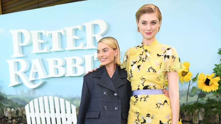 Margot Robbie and Elizabeth Debicki in Sydney on Saturday.