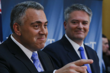 Then Treasurer Joe Hockey, and Finance minister Senator Mathias Cormann during the Budget lock-up in 2015.
