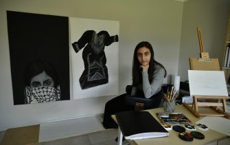 Narelle Odeh, who lives in the Liverpool area, works on her HSC major work at home.