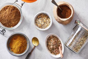 DIY spice blends, clockwise from top left, five-spice powder, everything spice, garam masala, Italian seasoning, Cajun/Creole seasoning and ras el hanout.