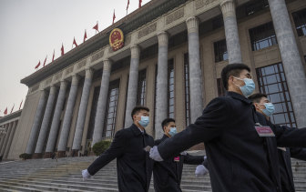 The Great Hall of the People in Beijing: Lawmakers are about to pass laws that will sanction Western companies that comply with US and European sanctions on Chinese businesses.