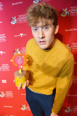 James Acaster with his award for the most outstanding show at the 2019 Melbourne International Comedy Festival.