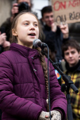 Inspiring ... Greta Thunberg speaks at a climate rally in Switzerland, en route to Davos.