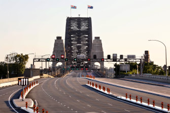 An empty Sydney Harbour Bridge during the COVID-19 shutdown.