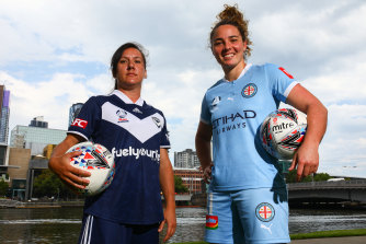 It's the W-League Melbourne derby this weekend: Victory's Lisa De Vanna and City's Jenna McCormick.