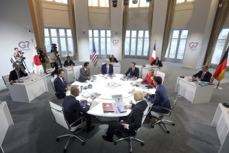G7 leaders at a working session on World Economy and Trade.