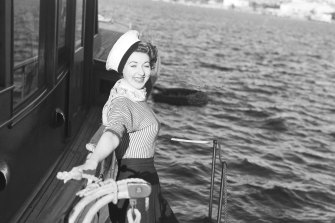 "Marcia Hathaway, actress in JC Williamson's ""Sailor Beware"", pictured during a promotion at Point Piper, Sydney on August 30, 1956"