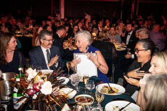Humble hero: Maggie Beer after receiving her Vittoria Coffee Legend award at Monday night's Good Food Guide 2020 awards and launch event in Brisbane.