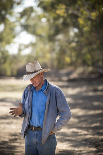 Angus Beef Cattle producer Garry Hall in a dry Macquarie River at his property  in the Macquarie Marshes.