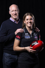 Carlton AFLW draftee Abbie McKay with father and former Blue Andrew.