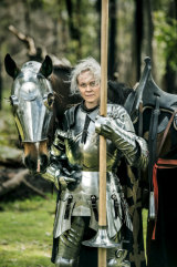 Lady Caroline Andersson from Sweden has had to borrow local armour to take part in the jousting event at the St Ives Medieval Faire.