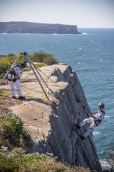 The NSW Police Rescue and Bomb Disposal Unit undertake a re-enactment of the rescue of the lone survivor from the cliff face at South Head.