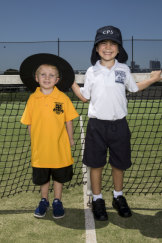 Daniel Power (yellow shirt) and Billy Purser started kindergarten this year.