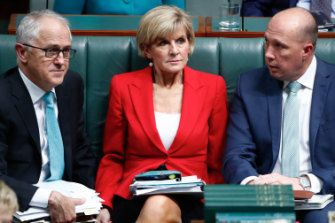 Then-PM Malcolm Turnbull, Foreign Affairs Minister Julie Bishop and Immigration Minister Peter Dutton in October 2017.