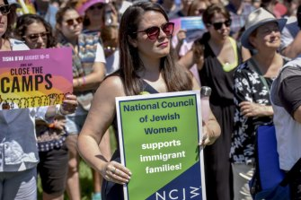 Sheila Katz, director of the National Council of Jewish Women, protests at a rally in front of the White House to commemorate the Jewish day of mourning by calling on the Trump administration to change its immigration policies.