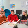 Hester Hornbrook Academy principal Sally Lasslett (centre) with teacher Eric Woodward and youth worker Felicity Gibbons.