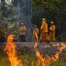 Victorian CFA firefighters in action near  Corryong.