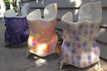 The back braces that Clare Boyd-Macrae's daughter Fiona wore from the age of 11 to 15, on their way to the nature strip a decade later.